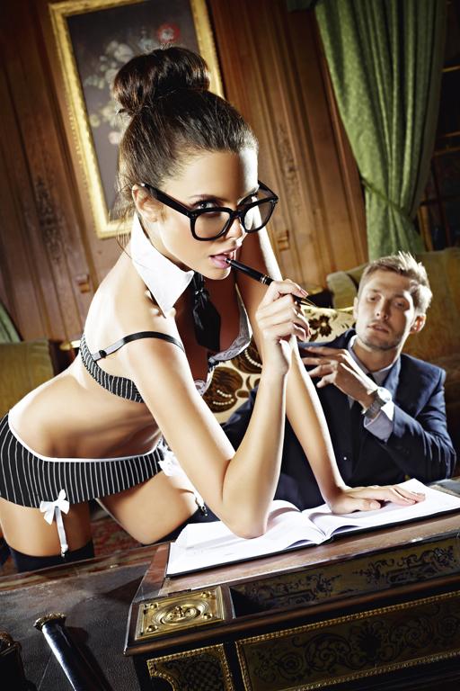 Игровой костюм СЕКРЕТАРША СЕКСИ: топ, мини-юбка, воротничок и галстук D (48-54)