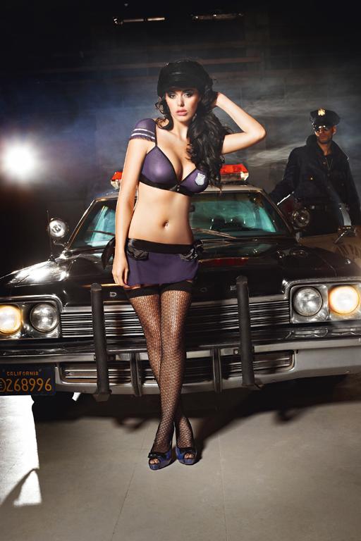 Чулки Night Patrol Police с узором высокие черные (42-46)