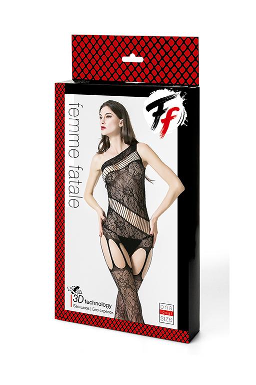 Кетсьюит на одно плечо с доступом и имитацией подвязок Femme Fatale