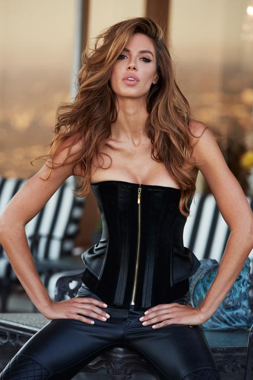 Корсет Suede and Leather Corset, черный, р-р L