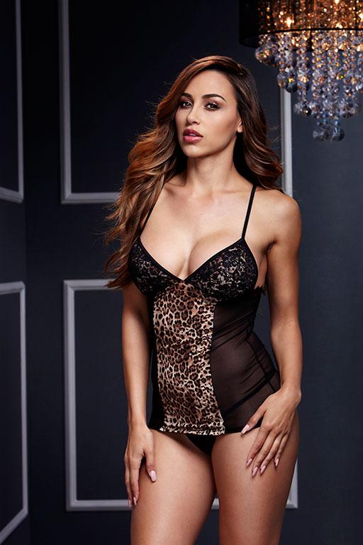 Сорочка из прозрачного материла с леопардовым принтом