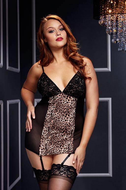 Сорочка из прозрачного материла с леопардовым принтом/ Queen size